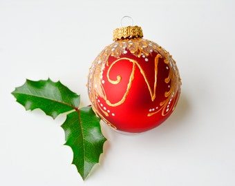 monogram ornament, initial christmas ornament, personalized baubles, monogram glass ball, custom ornaments, personalized gifts