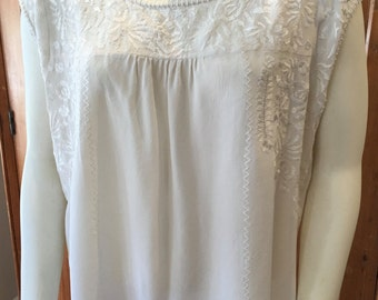 SALE Creme Silk Embroidered Cap Sleeved  Top WAS 35.00