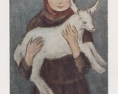 "N. Chernyshov ""Young Collective Farmer (Girl with a Goatling)"" Postcard -- 1965"