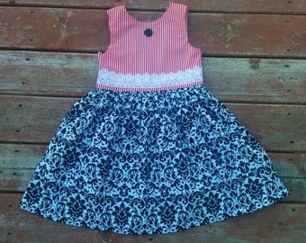 Girls Red Black Damask Christmas Holiday Dress 2 3 4 5 6 7 8 10 12 Sleeveless Matching Boys Tie Sibling Set
