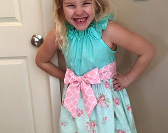 Girls Easter Dress - Pink Aqua Floral Shabby Chic Ruffled Neckline with Sash - Spring Summer Dress 12 18 24 2T 3T 4T 5 6 7 8 9 10 11 12