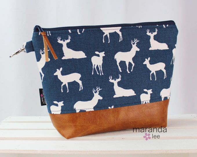 AVA Clutch -3 Sizes - Navy Deer with PU Leather Cosmetic  Elk Deer Moose