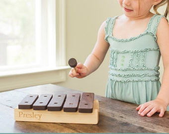 wooden XYLOPHONE toy - a handcrafted, heirloom gift for children, eco-friendly with homegrown organic finish