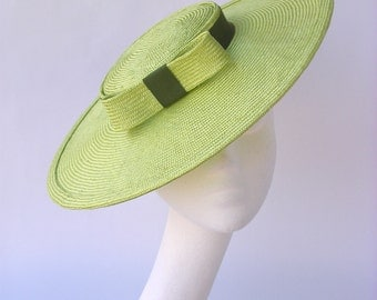 Hat straw green vintage style 1940 1950 pin up summer