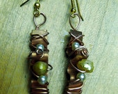 Copper and pearl hand wire wrapped earrings