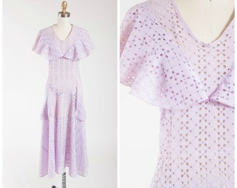 Vintage 1930s Dress • Dressed So Fine • Pale Purple Eyelet Lace Cotton Early 1930s Garden Party Dress Size Small