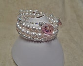 5 Row Pearl, Crystal & Silver Memory Wire Bracelet with Hearts