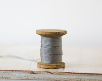 """Gray Hand-Dyed Silk Ribbon (with Wooden Spool) - 5 yards - 0.25"""" wide"""