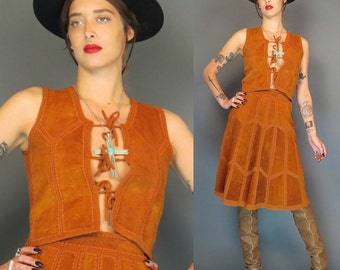 vintage hippie deer skin suede and knit skirt and vest // boho // rock roll // patchwork // skirt set // small