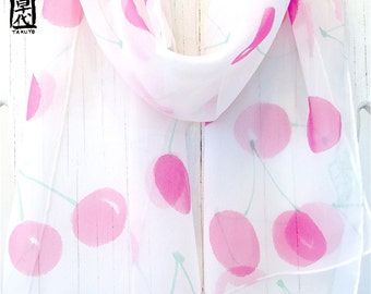 Hand painted silk scarf, Gift under 50, Gift for her, White Silk Scarf, Pink Cheery Cherries Scarf, Silk Chiffon Scarf, Takuyo, 11x60 inches