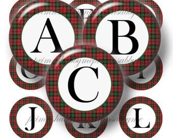 Tartan, Bottle Cap Images, Alphabet, Letters, 1 Inch Circle, Digital Collage Sheet, Instant Download, Pendants, Cabochons, Initials, No.1