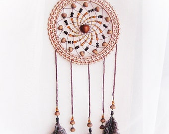 Dream catcher Mother day gift idea Wall hanging Ethnic wall art ideas Country home decor Eco gift ideas Nature home decoration Wicker frame