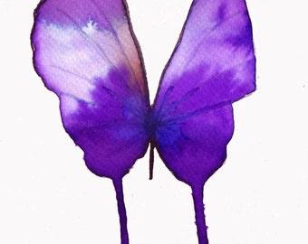 purple violet  butterfly original watercolour painting