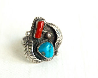 Chunky Turquoise Ring Size 6 .5 Red Coral Sterling Silver Vintage Southwestern Boho Jewelry Adjustable Ring