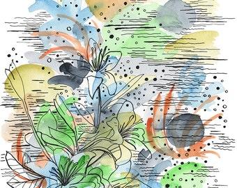 Original illustration. Floral Art Original painting. Abstract flower painting. Flower illustration. Original drawing. Pen and ink drawing