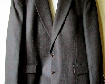 Herringbone Tweed Sport Coat vintage designer Oscar de La Renta mens blazer dark chocolate brown ivy league preppy hand tailored wool men 44