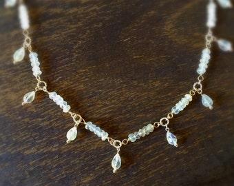 Moonstone Necklace - Rainbow Moonstone Jewelry - Pendant - Sterling Silver Jewellery - Iridescent - Gemstone