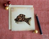 Christmas Carp card, coffe fish, for coffee lovers, scent of Christmas, coffee notecard, brown and beige, season greetings