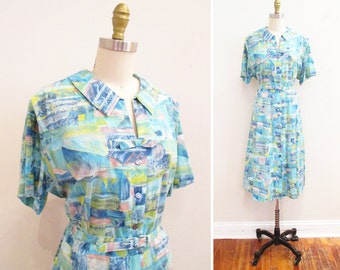 Vintage 1950s Dress | Abstract Watercolor Print 1950s Day Dress | size xl