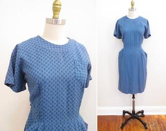 Vintage 1950s Dress | Blue and Black Atomic Square Print 1950s Wiggle Dress | size medium