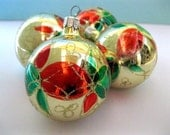 ON SALE! Gold Glass Christmas Ornaments Vintage Set of 4 Gold Red Green Holiday Glitter Bulbs