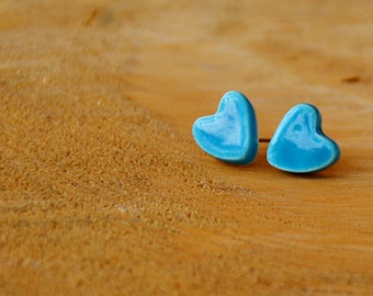 Ceramic Earrings - Blue Heart Earrings - Handmade Heart Earrings - Simple Jewelry