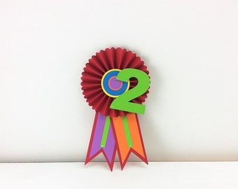 Custom Party Ribbon: Rainbow Birthday Party, Custom Birthday Age, 1st Birthday Girl, Award Ribbon, Art Birthday Party, Paper Rosette Fan
