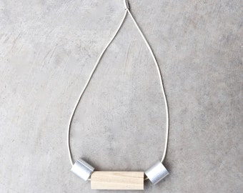 Contemporary Necklace Wood Aluminum Conceptual Jewelry Material Purity Series III