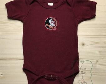 FSU Bodysuit Made from Florida State University Fabric, FSU Baby, FSU Baby Girl, Baby Shower Gift, Nole Girl, Garnet and Gold
