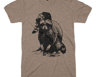 Mens Bad Raccoon T-Shirt - Woodland T shirt mountaineer Mountain Men Guys Gifts For Him Gift Boyfriend Dad Husband Funny Animal Humor Tees