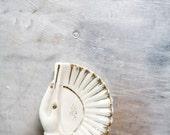 Vintage Trinket Dish // Vintage Ceramic Trinket Dish // Hand Fan White and Gold Decrative // Jewelry Dish Holder
