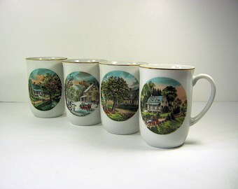 Vintage FOUR SEASONS COFFEE MUGs Set/4 Currier & Ives 22K Gold Trim Porcelain