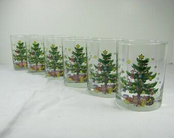 Vintage HOLIDAY ROCKS GLASSES Set/6 CHRiSTMAS Tree Glass Barware