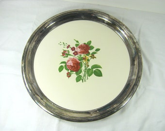 Vintage SILVERPLATE ROSE TRAY Ceramic Tile Floral Inlay Round Serving Tarnish PATiNA Wedding