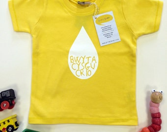 SALE - Welsh Baby Clothes Yellow T-shirt Bwyta, Cysgu, Crio Eating, Sleeping, Crying White Unisex
