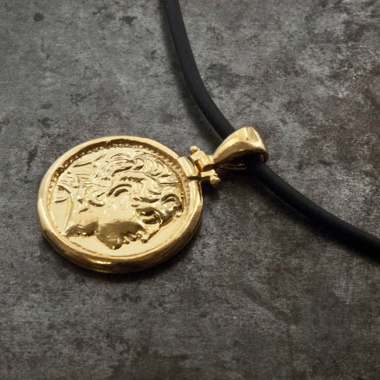 gold ancient coin necklace coin pendant