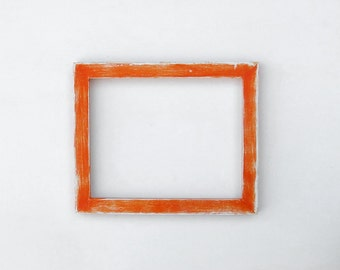 Distressed orange frame - 8x10 picture frame, handpainted, orange and white,