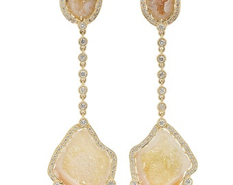 Unique Diamond Halo Geode Drop Earrings in 14k Yellow Gold, Unique one of a kind raw stones drop earrings | ready to ship!
