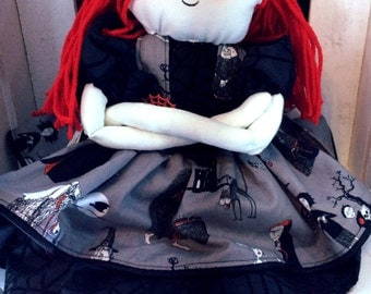 Dolly Dear, cloth doll, RUBI ADDAMS,  soft sculpture, OOAK, art doll, red and black, skulls, spooky, goth style, spiderwebs