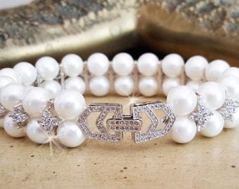 Freshwater Pearl Wedding Bracelet, CZ Crystal Pearl Bracelet,  Art Deco Bridal Cuff, Bridal Jewelry, Statement Bracelet, Wedding Jewelry