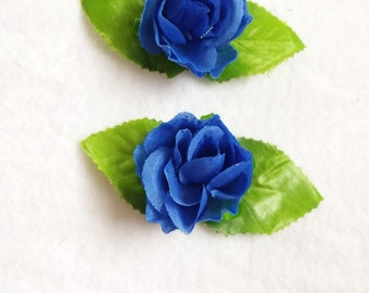 Pair Roses Flowers Hair Clips