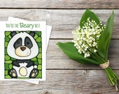 Panda Bear Greeting Card - You're The Beary Best - Cute Card - Thinking of You - Whimsical Card - Pun - Silly - by Artist Kathy Lycka