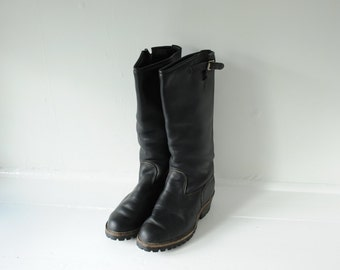 Vintage Wesco Tall Black Leather Engineer Motorcycle Riding Boots Mens 8