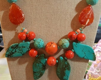 32 inches long Beaded Turquoise, Orange Magnesite and Fire Agate Necklace
