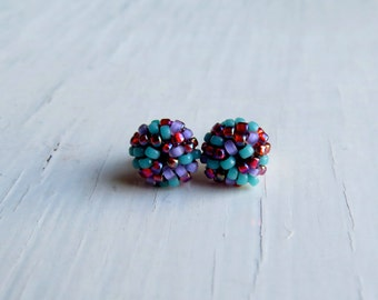 Disco handwoven stud earrings - stud earrings, handmade earrings, turquoise earrings, handwoven, colorful earrings, bead earrings