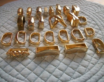 Gold Belt Slides - Purse Hardware - Jewelry Making - Salvaged - 26 pieces