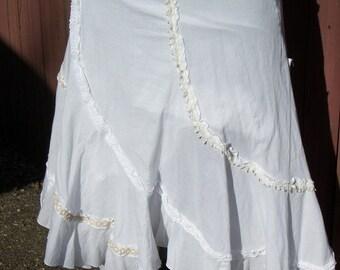 White Asymmetrical Skirt with Ivory Crochet Trim Junk Gypsy - Small