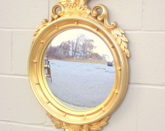 """Antiqued Gold Federal Bulls Eye Mirror with Eagle - X Large 29"""" x 18"""" - Bullseye Butler - American Retro - Antique Gold"""