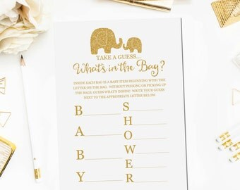 Whatu0027s In The Bag Baby Shower Game, Baby Shower Game Printable, Gold  Elephant Baby