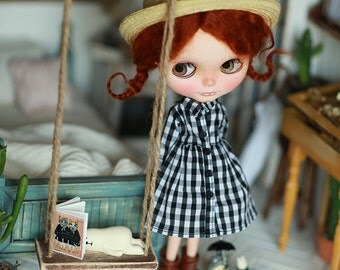 Miss yo 2016 Summer & Autumn - Vintage Dress type C for Blythe doll - dress / outfit - Black Check